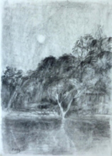drawing moon over hawkesbury river