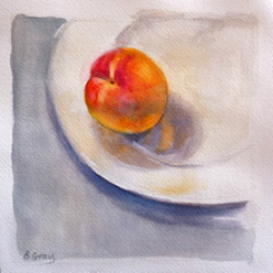 Still life, apricot, mixed media by Barbara Gray