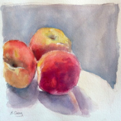 Still life, peaches, mixed media by Barbara gray
