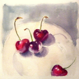 Still Life with cherries, mixed media on watercolour paper by Barbara Gray